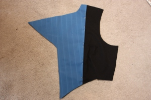 The lapel facing is sewn to the lining to make one front-panel-lining piece.