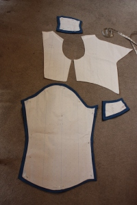 The pattern pieces, in which the seam allowance was added.