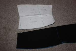 The centre back seam for the collar is sewn.