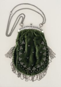 A bag or purse, made from silk velvet and steel beads, c. 1905, from LACMA.