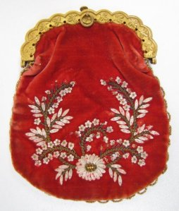 An Early 19th Century velvet purse, with an embroidered and beaded design, from Granite Pail Collectables.