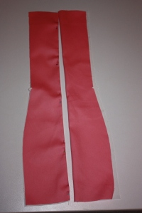 The back panels, with the outer fabric sewn to the lining.