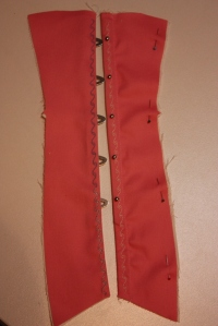 The front panel, with busk inserted and the embroidery being completed.
