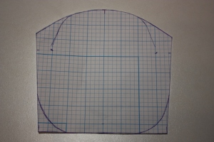 The pattern for the clasp bag, drawn on 1/4 inch grid paper.