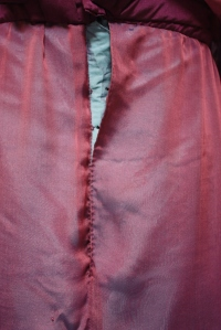 The back skirt placket, shown here half done up.