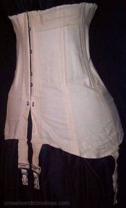 A late Edwardian corset, c. 1910-1915, at Corsets and Crinolines.