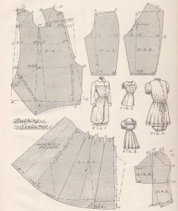 A pattern for a woman's bathing suit, c. 1900, from Cutter's Guide.
