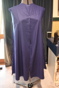 The front view, showing the centre front pinned and the side and shoulder seams sewn. This dress has almost no shaping except for at the side seams.